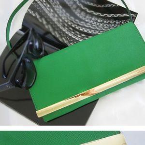 Michael Kors green selma clutch